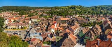 Panorama of Sighisoara town in Romania Royalty Free Stock Photo