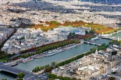 Panorama Sightseeing de Paris da torre Eiffel superior, França imagem de stock