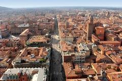 Panorama- sikt av Bolognastaden, Italien Royaltyfria Foton