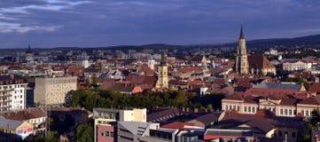 Panorama- sikt av Cluj Napoca, Transylvania Royaltyfria Foton
