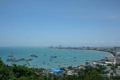 Panorama- sikt av den Pattaya staden Arkivbilder