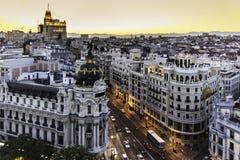 Panorama- sikt av Gran via, Madrid, Spanien. Arkivbilder