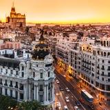 Panorama- sikt av Gran via, Madrid, Spanien. Royaltyfri Foto