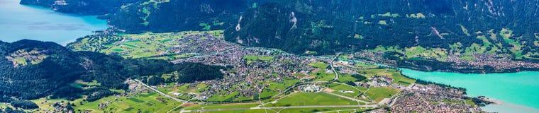 Panorama- sikt av Interlaken, Schweitz royaltyfri fotografi