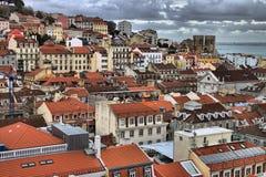 Panorama- sikt av lisbon Arkivfoton
