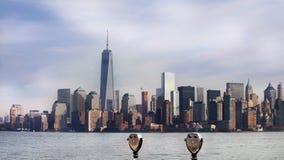 Panorama- sikt av Manhattan nya USA york Arkivbild