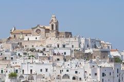 Panorama- sikt av Ostuni. Puglia. Italien. royaltyfri bild