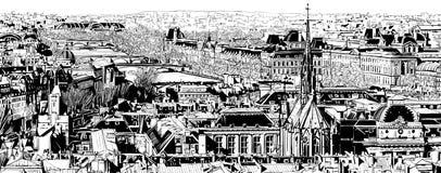 Panorama- sikt av Paris vektor illustrationer