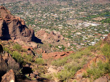 Panorama- sikt av Phoenix, AZ Arkivfoto