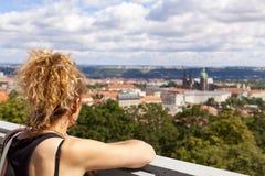 Panorama- sikt av Prague royaltyfria foton