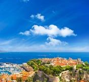 panorama- sikt för hamnmonaco slott Fotografering för Bildbyråer