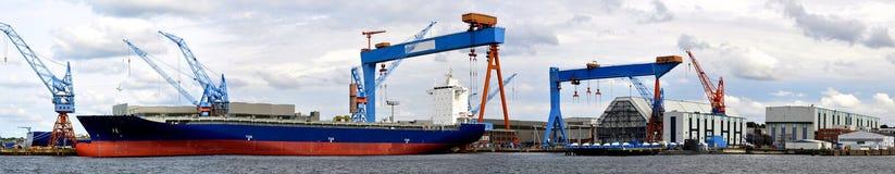 Panorama- sikt för Kiel hamn arkivfoto