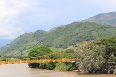 panorama- sikt för stad La Pintada, Antioquia, Colombia Arkivbild