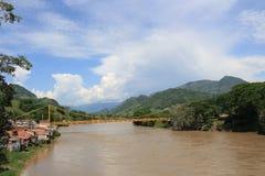 panorama- sikt för stad La Pintada, Antioquia, Colombia Arkivfoto