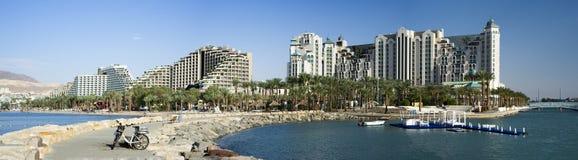 Panorama- sikt på semesterorthotell av Eilat, Israel Royaltyfri Fotografi