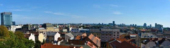 panorama- sikt zagreb arkivfoton