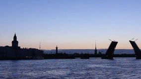 Panorama of Silhouette leaf bridge in White nights Royalty Free Stock Image