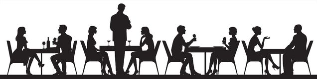 Panorama of silhouettes of people eating food and drinkers in a cafe or restaurant royalty free stock images