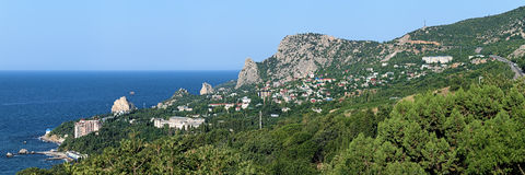 Panorama of Simeiz settlement in Crimea Stock Images