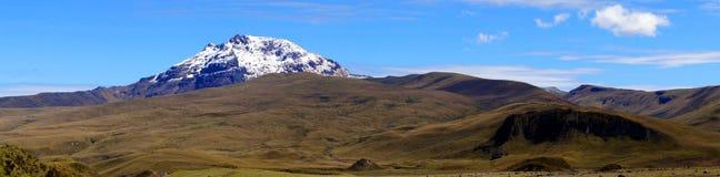 Panorama of Sincholagua Volcano. A Panorama of Sincholagua volcano in Ecuador taken inside Cotopaxi National Park Royalty Free Stock Image