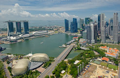 Panorama of Singapore. Esplanade and skyscrapers Royalty Free Stock Photography