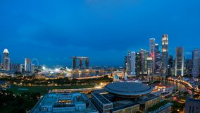 Panorama of Singapore business district skyline and Singapore sk Stock Photos