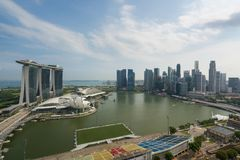 Panorama of Singapore business district skyline and Singapore sk Royalty Free Stock Images