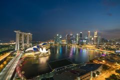Panorama of Singapore business district skyline and Singapore sk Stock Image