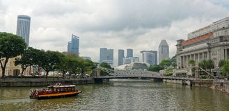 Singapore Skyline From Boat Quay Stock Images