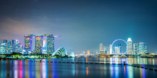 Panorama of Singapore city skyline. By night Royalty Free Stock Photo
