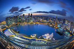 Panorama of Singapore from Marina Bay hotel, in the night. Stock Image