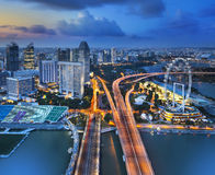 Panorama of Singapore from Marina Bay hotel, in the night. Stock Photos