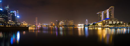 Panorama of Singapore at night royalty free stock photography