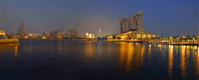 Panorama of Singapore river and skyline Royalty Free Stock Photography