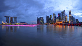 Panorama of Singapore river and skyline. At blue hour Royalty Free Stock Photography