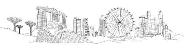 Panorama- SINGAPORE skissar vektor illustrationer
