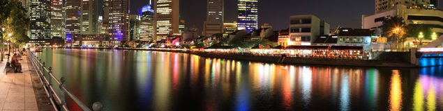 Panorama Of Singapore Skyline. A Panorama Of Night View Of Singapore City.View Around Singapore River stock photography