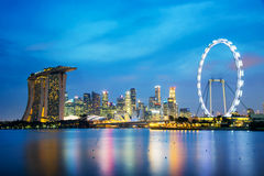 Panorama of Singapore skyline by night Royalty Free Stock Images