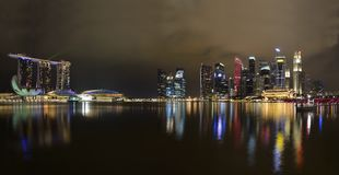 Panorama of Singapore skyline and river Royalty Free Stock Photos