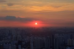 Panorama of Singapore skyline with skyscrapers at sunset Stock Photography