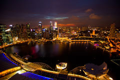 Panorama Singapur w nighttime Zdjęcie Royalty Free