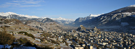 Panorama of Sion. Panorama of the city of Sion, Switzerland Royalty Free Stock Photo