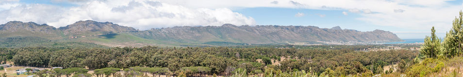 Panorama of Sir Lowreys Pass and Gordons Bay Royalty Free Stock Photo