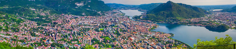 Panorama of the sity Lecco. Stock Images