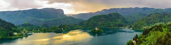 Panorama sjö som blödas i Slovenien Royaltyfri Fotografi