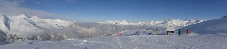 Panorama of ski area in France stock photos