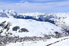 Panorama of the Ski Areas, Les Deux Alpes, France, French Royalty Free Stock Photo