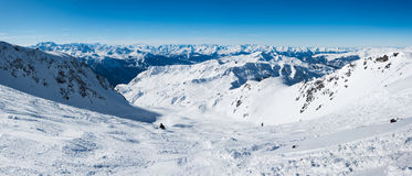 Panorama of ski pistes Royalty Free Stock Image