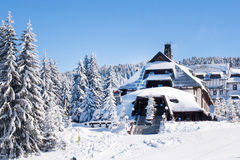 Panorama of ski resort Kopaonik, Serbia, chalet covered with snow Stock Image