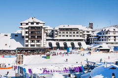 Panorama of ski resort Kopaonik, Serbia, hotels, restaurants, people walking and skiing Stock Image
